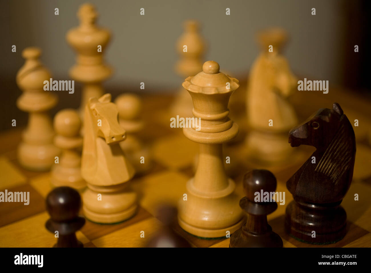 Close up of Traditional Wooden Chess Pieces, Giant, Chess, pieces, Game, Abstract concept special effects, strategy, - Stock Image