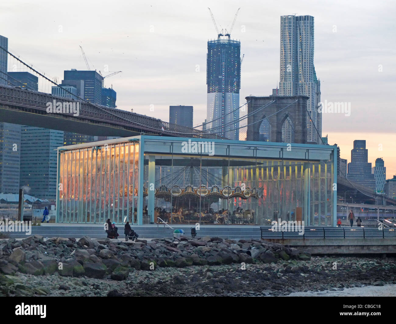 Jane's carousel in Brooklyn Bridge Park - Stock Image