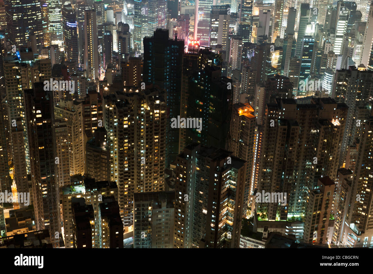 China, Honk Kong, Cityscape at night - Stock Image