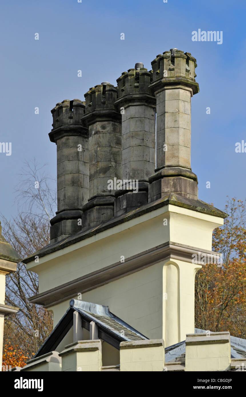 Ornamental chimneys. Croft Court, Clappersgate, Ambleside, Lake District National Park, Cumbria, England, United - Stock Image