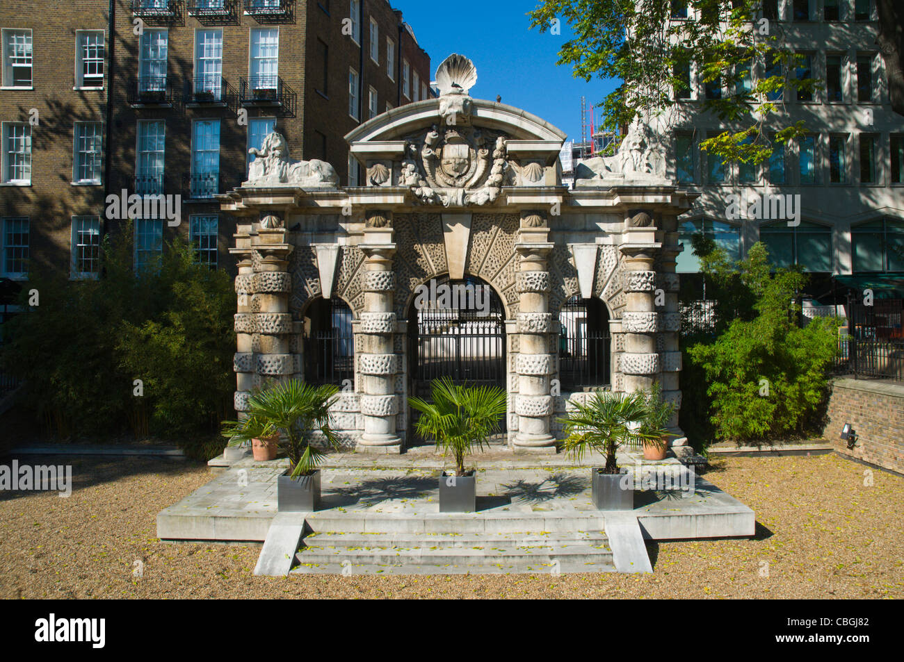 York Water Gate in Victoria Embankment Gardens park central London England UK Europe - Stock Image