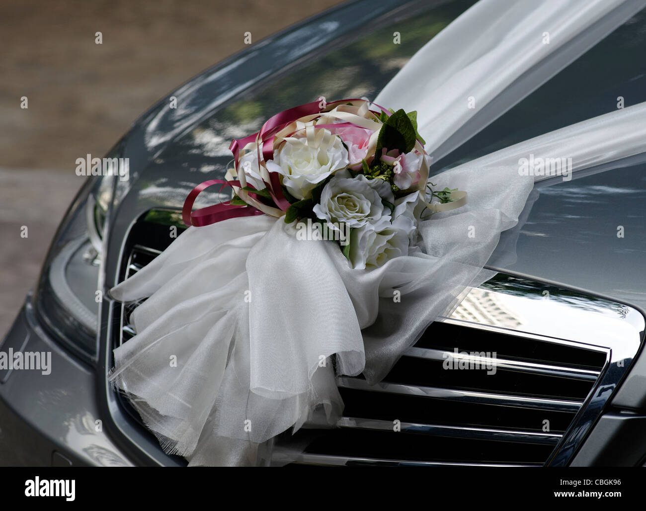 Decorations On A Wedding Car In Singapore Asia Stock Photo
