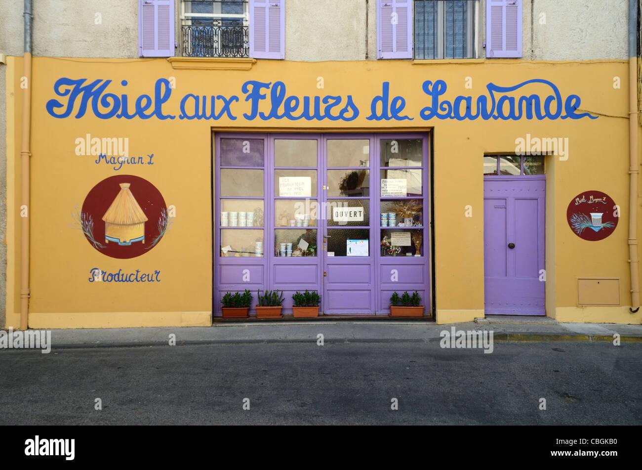 Shop Front of Shop Selling Lavender Honey, Valensole, Provence, France - Stock Image