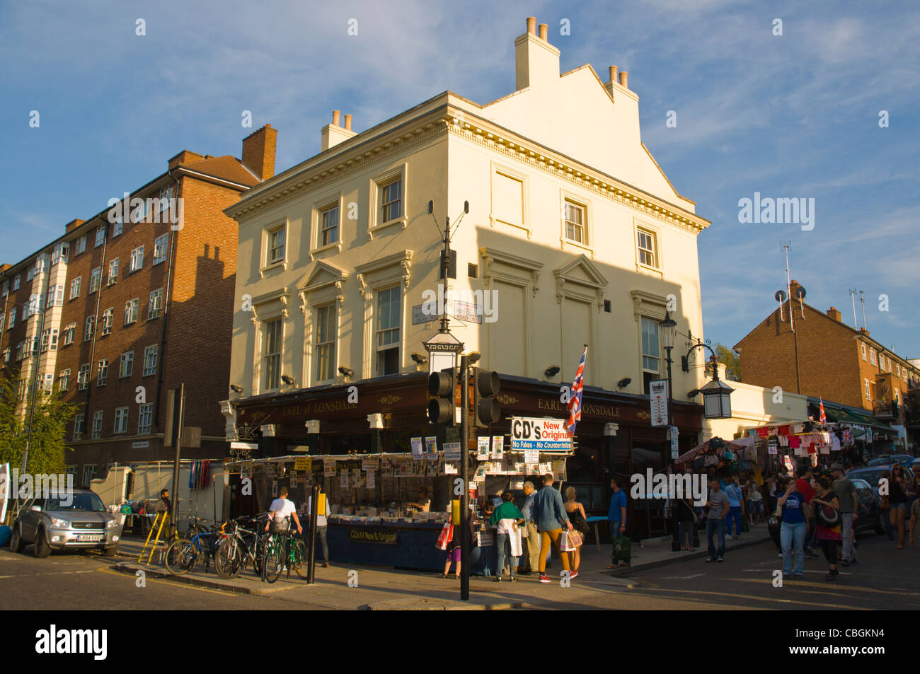 Corner of Westbourne Grove and Portobello Road streets Notting Hill district London England UK Europe - Stock Image