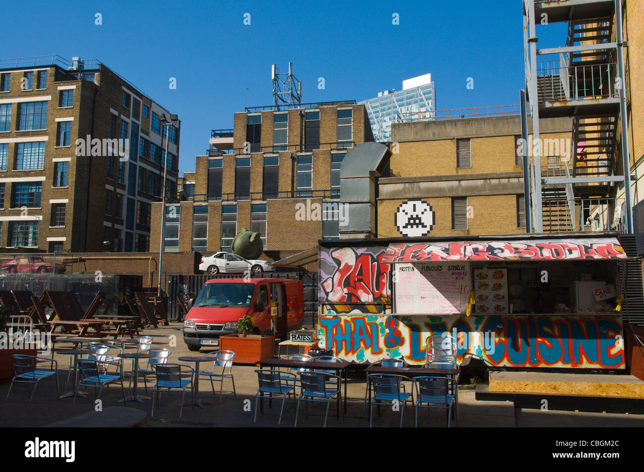 Puma court square with asian food stall Shoreditch east London England UK Europe Stock Photo