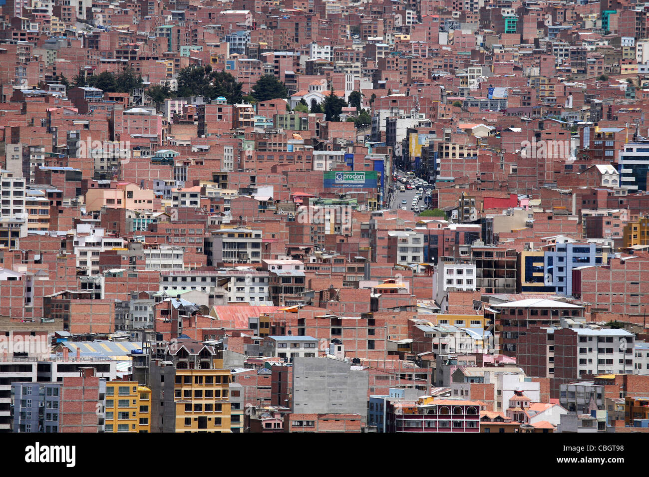 View over flats and apartments of the city La Paz, Bolivia - Stock Image