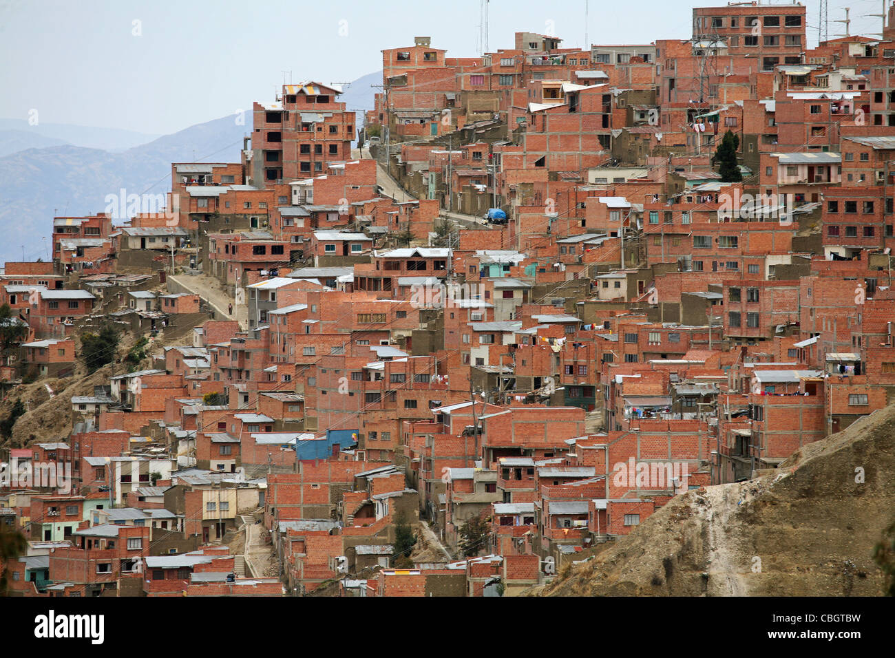View over suburb of the city La Paz on hillside, Bolivia - Stock Image