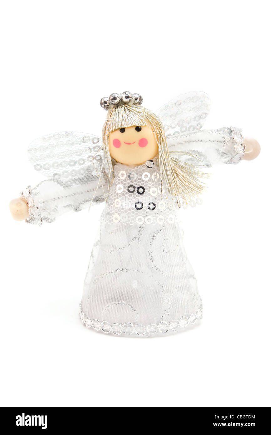 Silver Christmas angel decoration over white - Stock Image