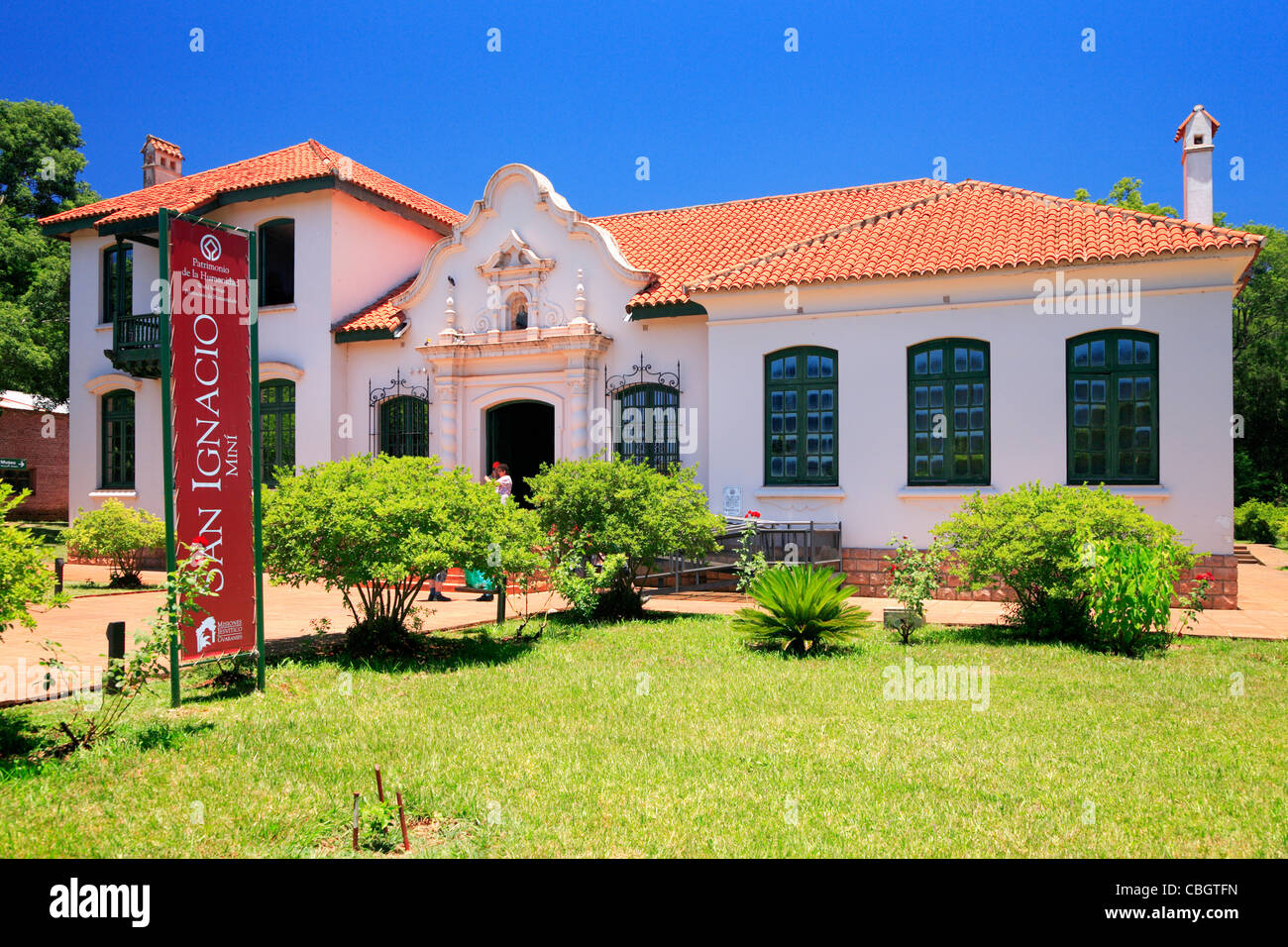 San Ignacio Miní Museum house. The main square was surrounded by the church, a cabildo, a cemetery, a monastery - Stock Image