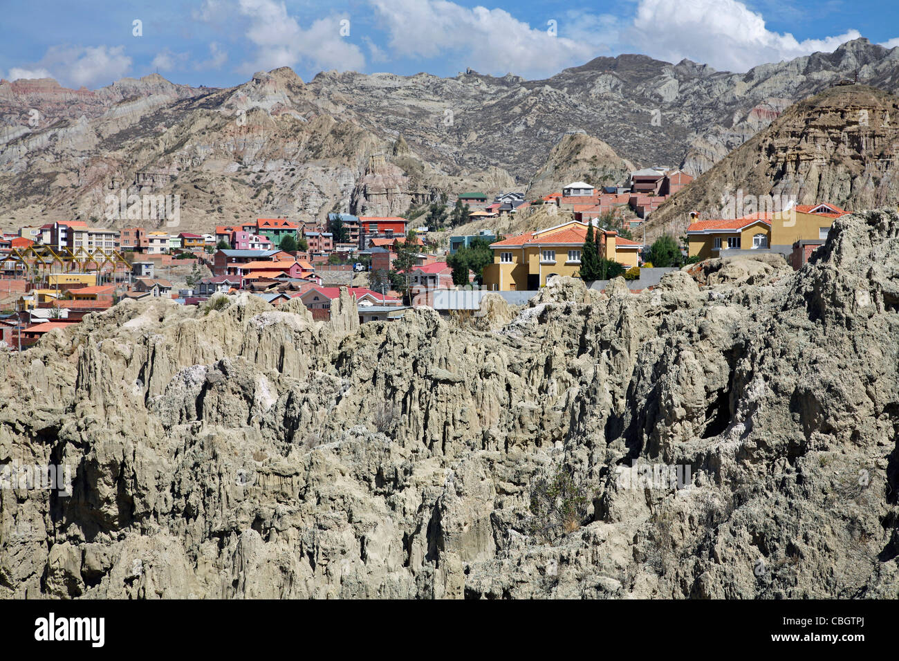 Houses in the Valley of the Moon / Valle de la Luna near La Paz, Bolivia - Stock Image