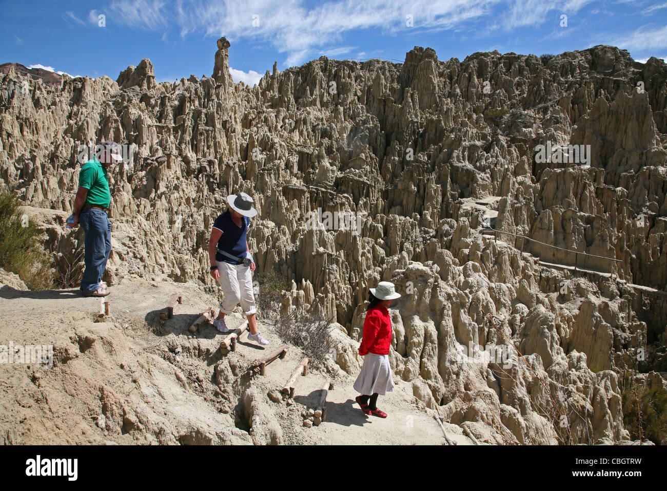Tourists visiting the eroded limestone rock formations in the Valley of the Moon / Valle de la Luna near La Paz, - Stock Image