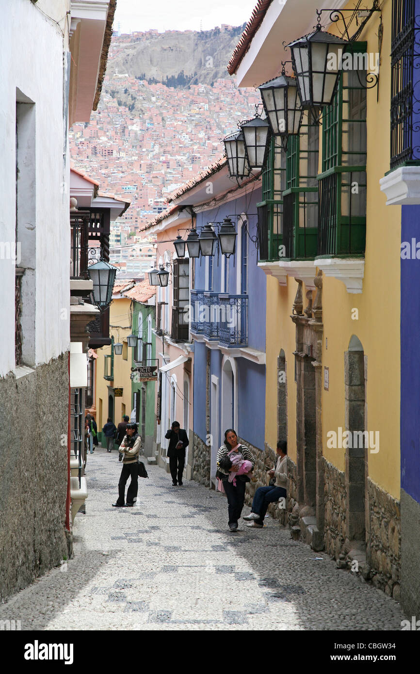Calle Jaen, a colonial street in Spanish style in La Paz, Bolivia - Stock Image