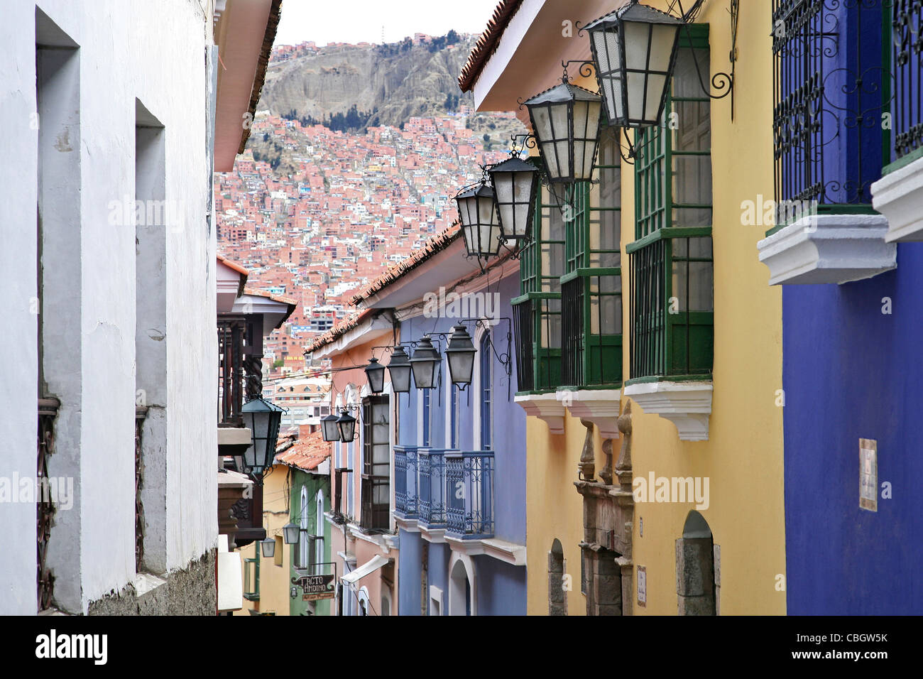 Colourful houses in the Calle Jaen, a colonial street in Spanish style in La Paz, Bolivia - Stock Image