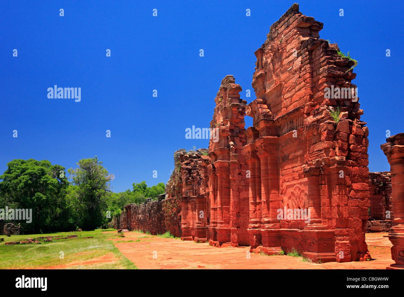 San Ignacio Miní ruins.The main square was surrounded by the church, a cabildo, a cemetery, a monastery and - Stock Image