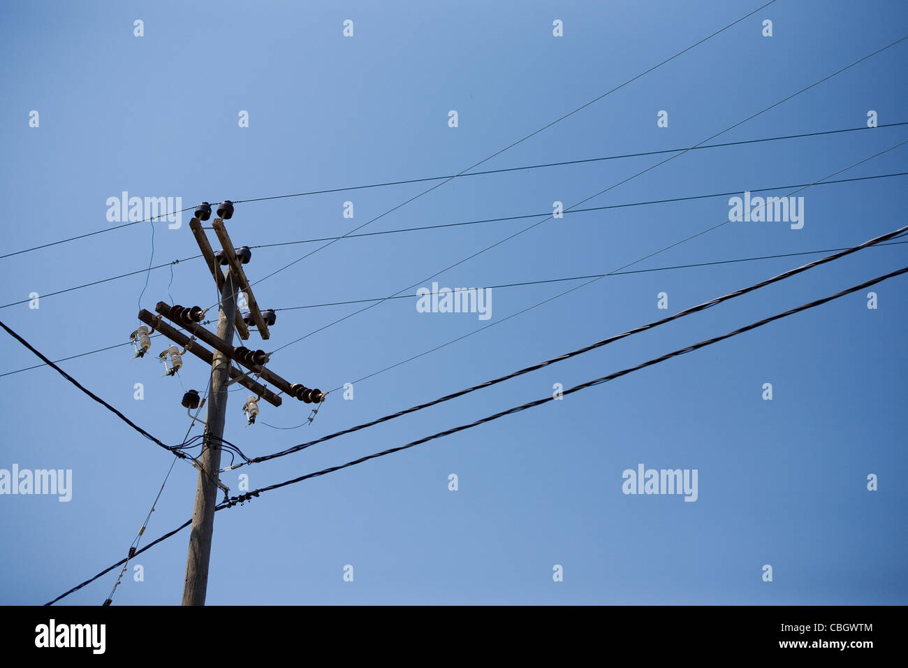traditional greek electricity poles - Stock Image