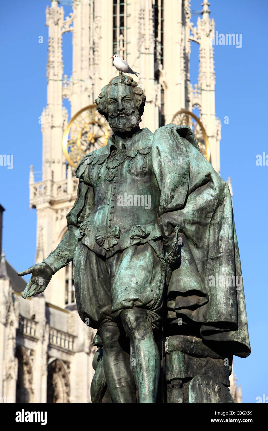 Rubens monument in front of the cathedral, old town of Antwerp, Belgium. - Stock Image
