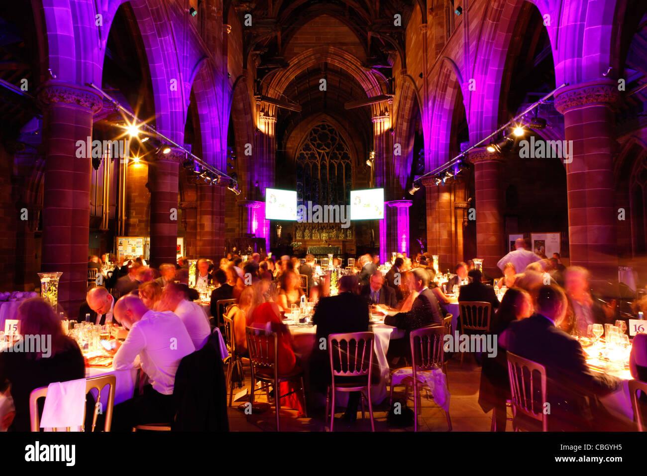 Evening Dinner at St Martins Church, Birmingham. - Stock Image