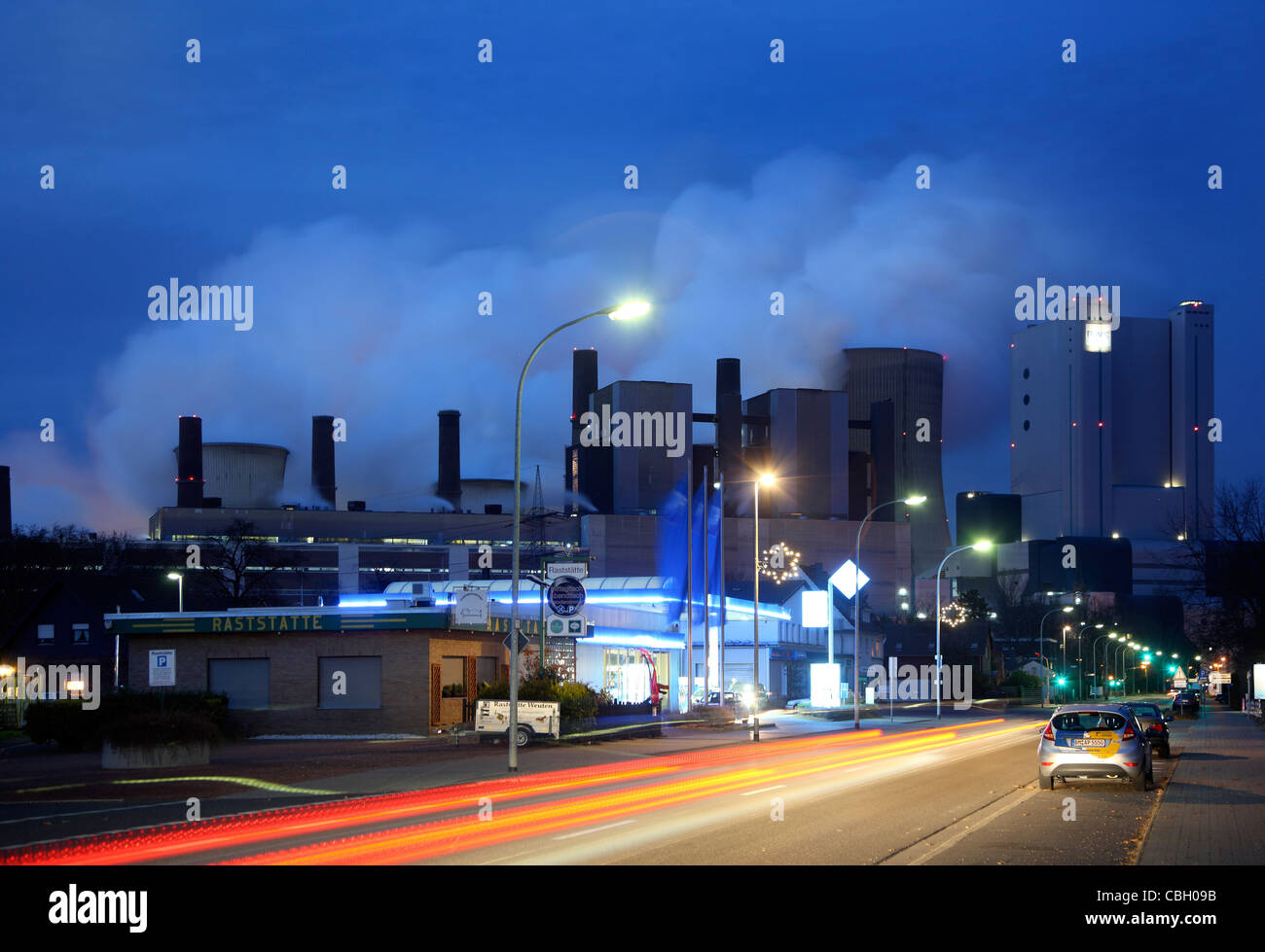 Biggest brown coal power station in Germany, Niederaussem, run by RWE Power company. Stock Photo