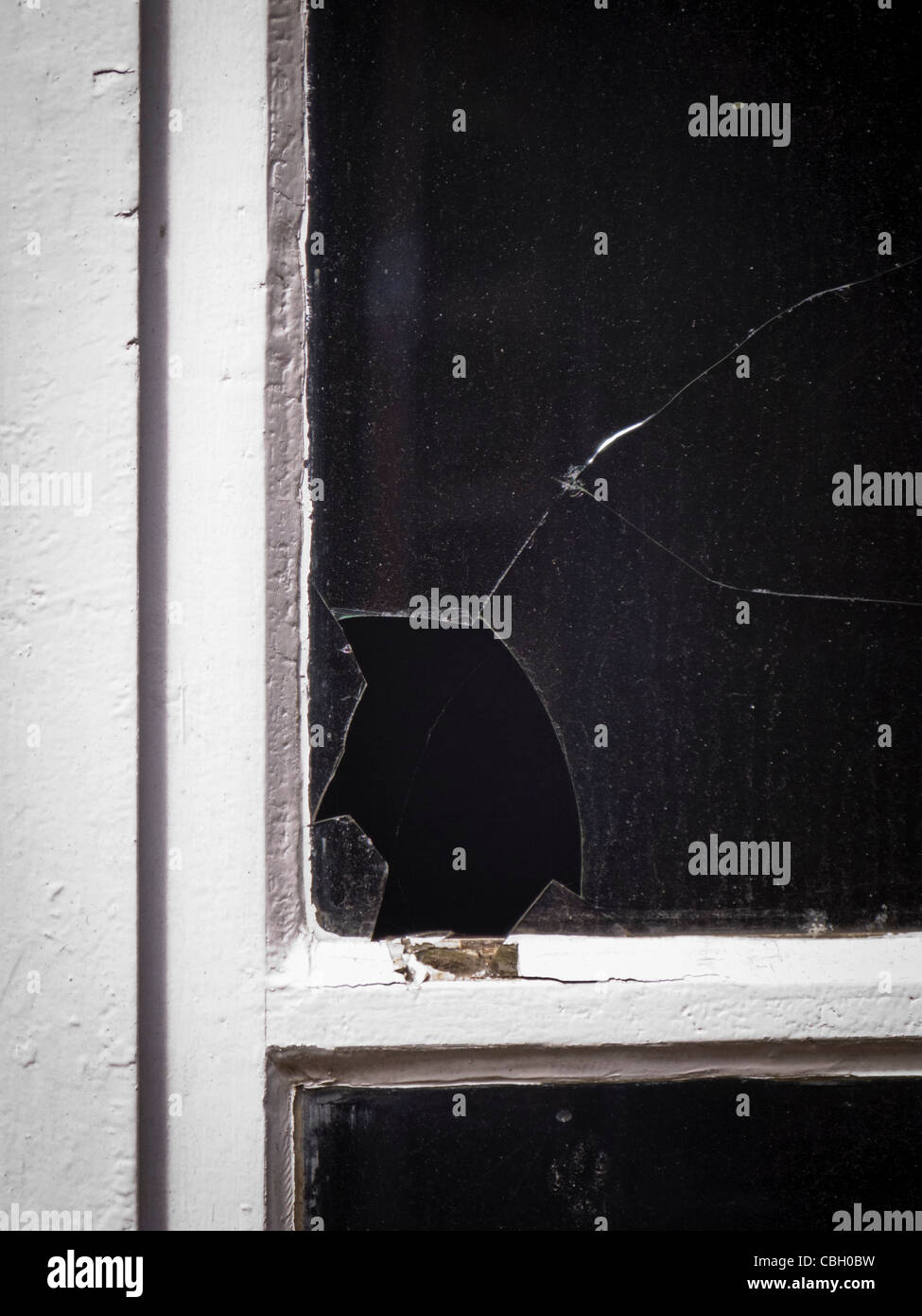 Broken window pane - Stock Image