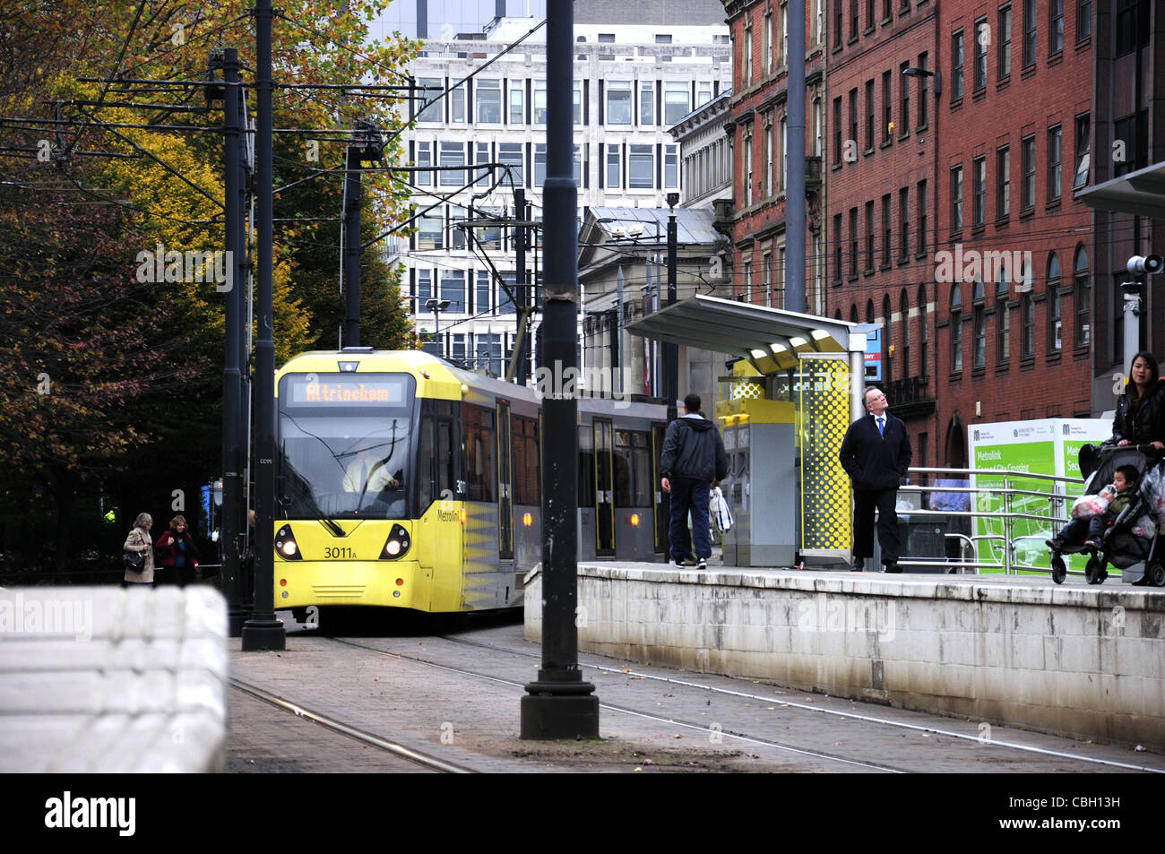 Metrolink tram, Manchester new yellow painted version - Stock Image