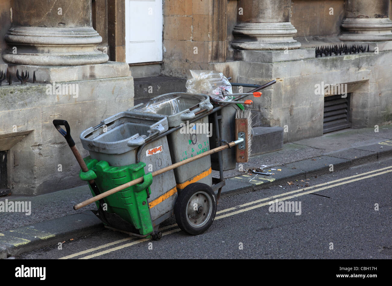 Street cleaner in Bath, England Stock Photo
