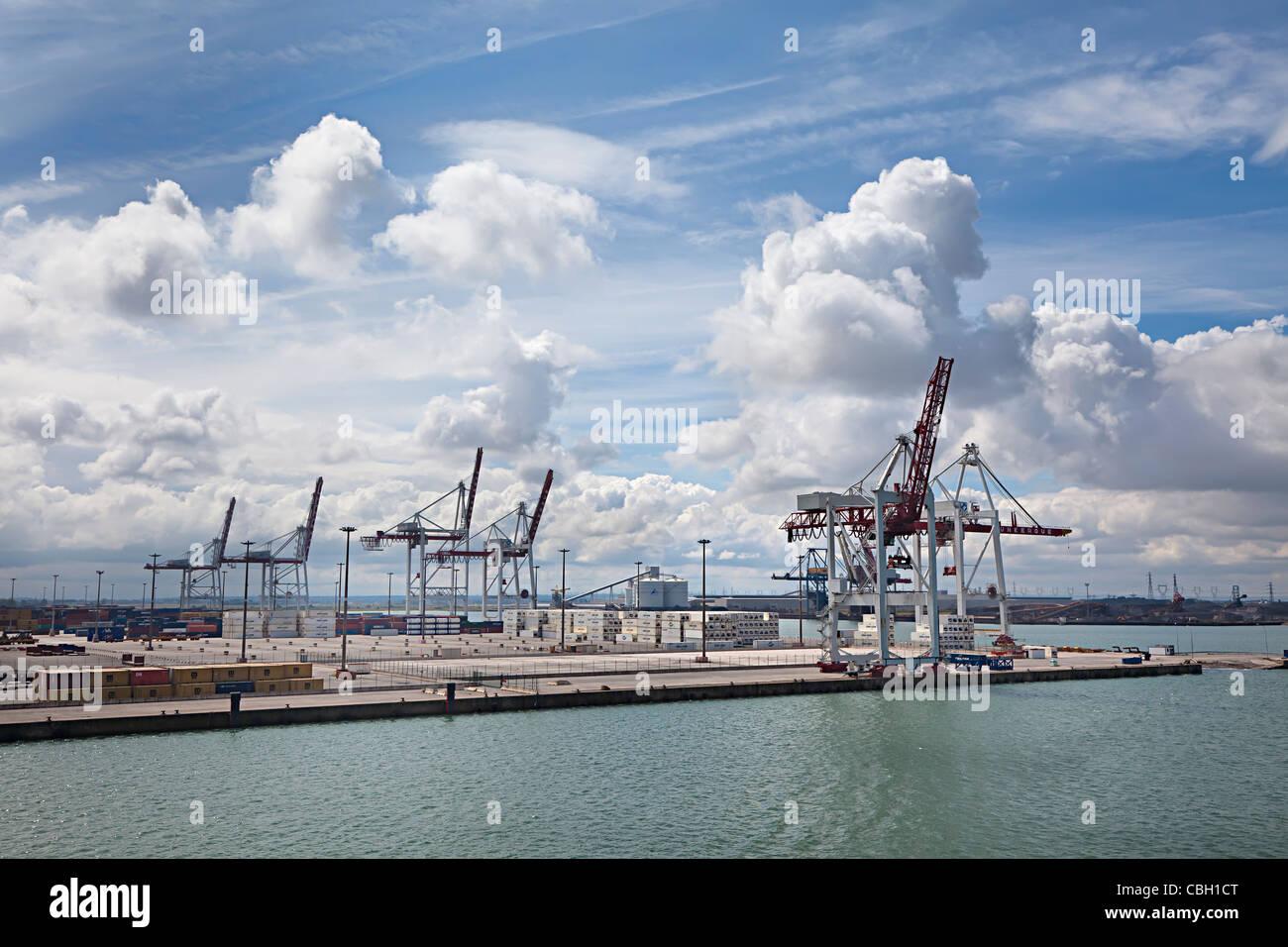 Harbour cranes Dunkirk France - Stock Image