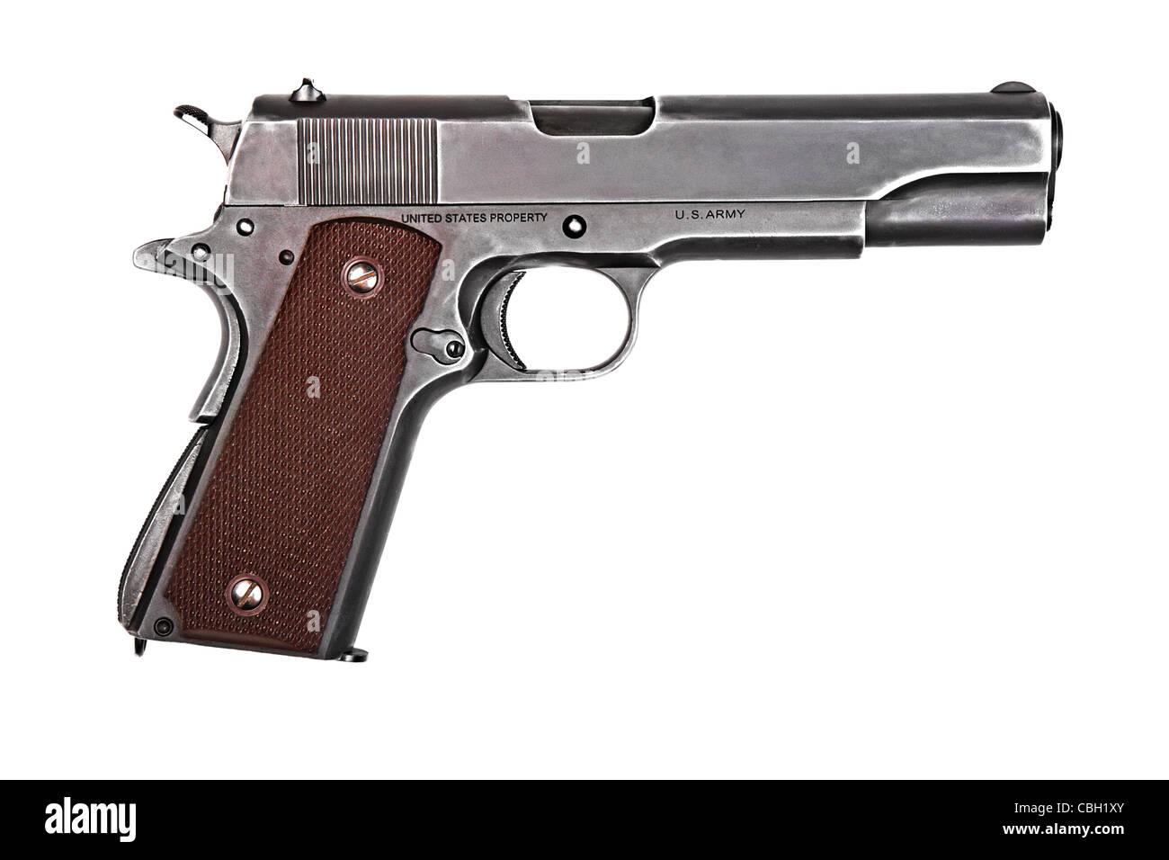 Legendary U.S. Army handgun Colt 1911A1 isolated on white background. Military model (gray color). - Stock Image