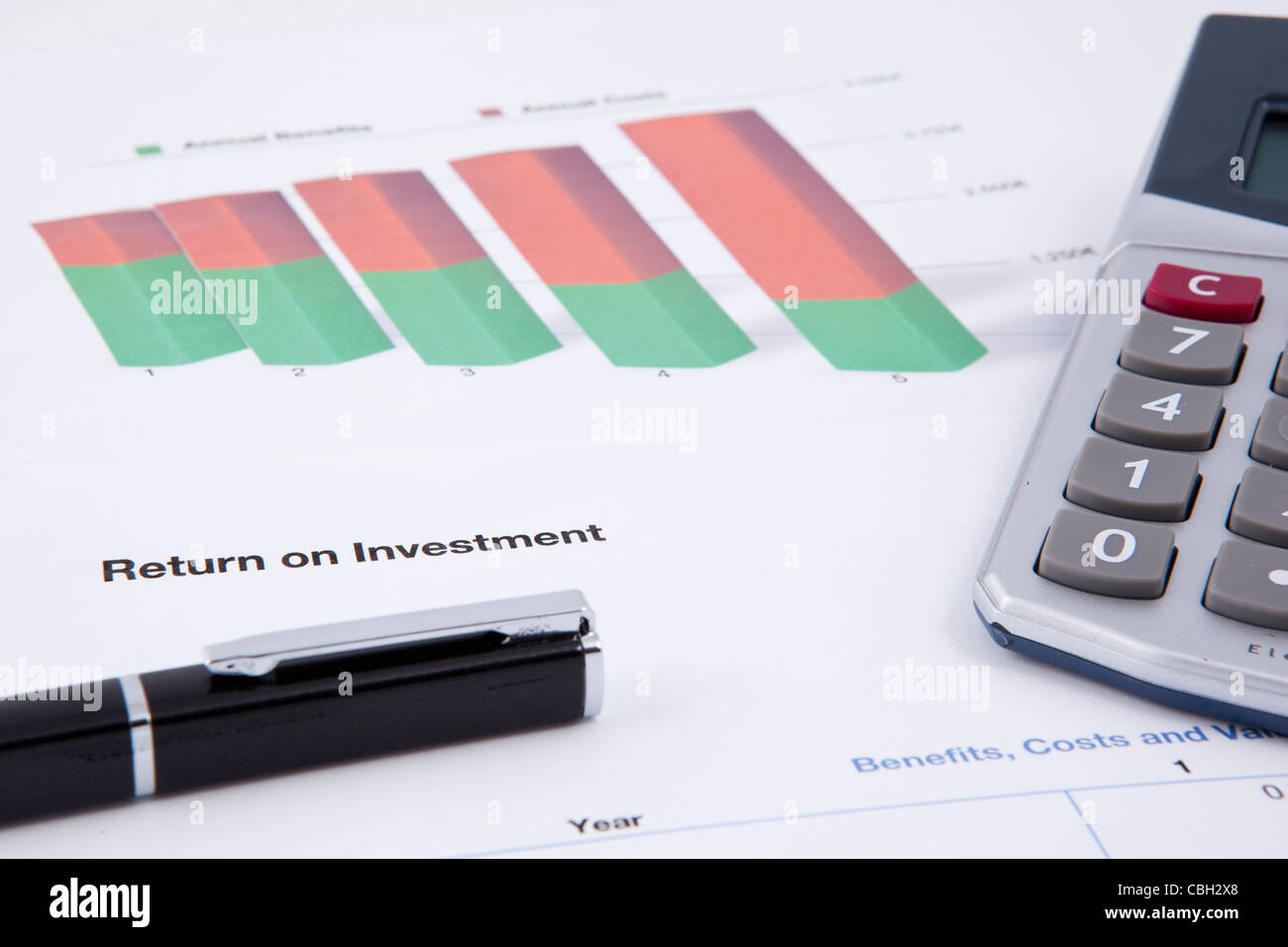 a balance sheet showing negative business figures - Stock Image