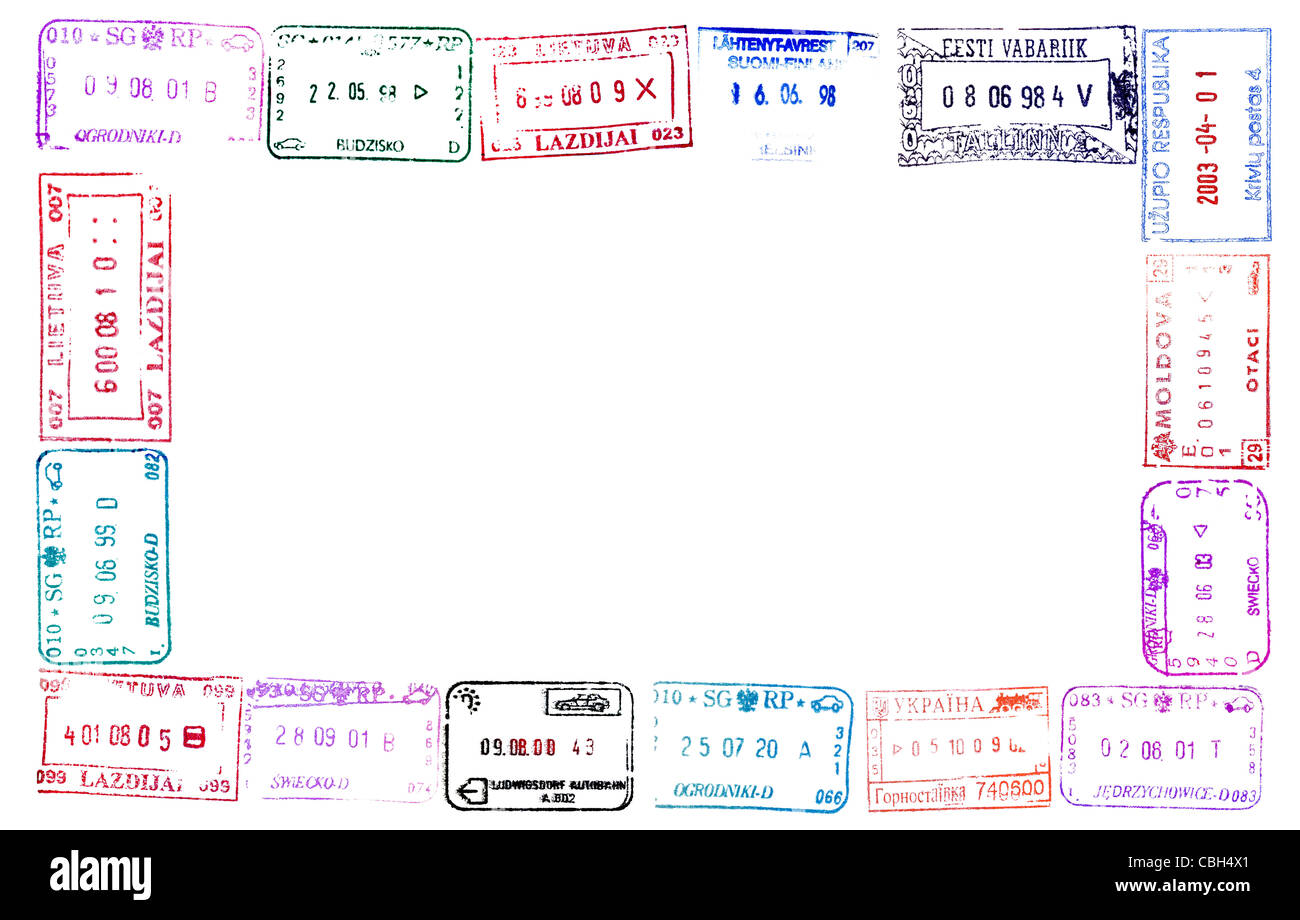 Colorful passport stamps frame for your design Stock Photo: 41559001 ...