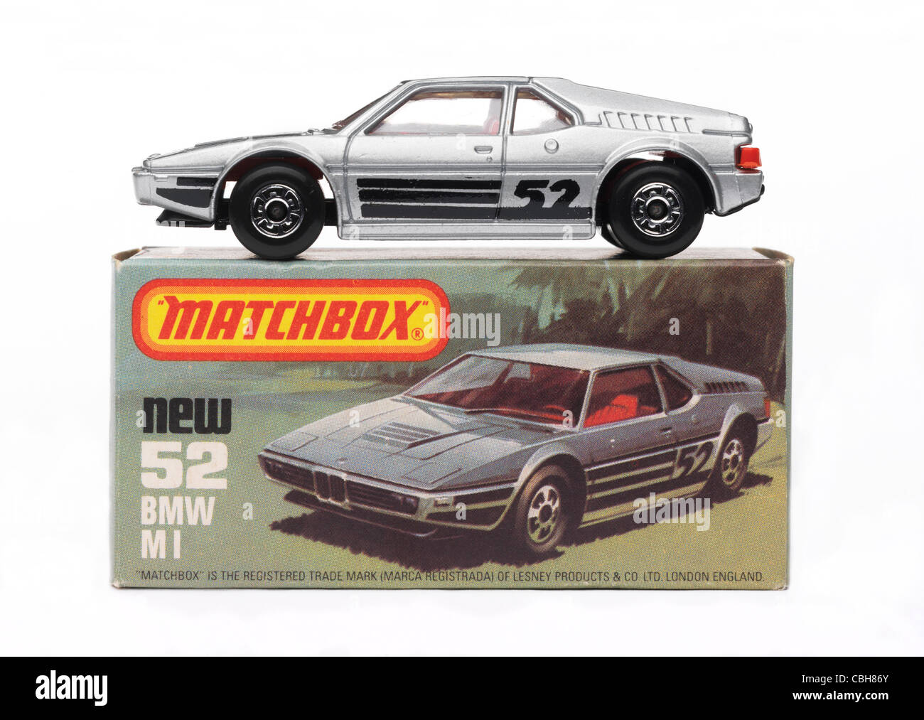 A view of a toy car from the late 70's and early 80's from side on and on white Stock Photo