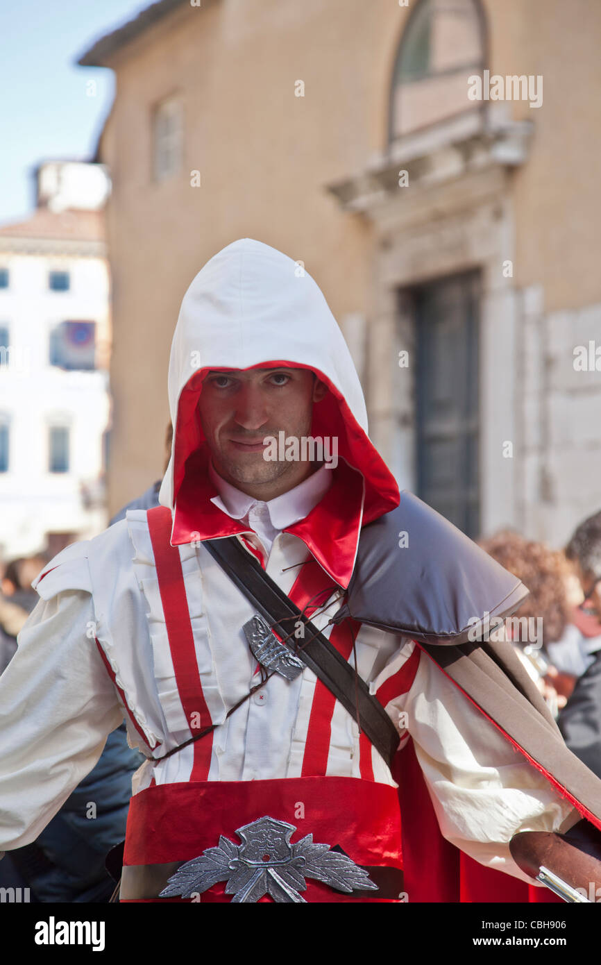 Young man dressed as Ezio from the video game Assassins Creed 2: Lucca comics and games festival, 2011 Tuscany, - Stock Image