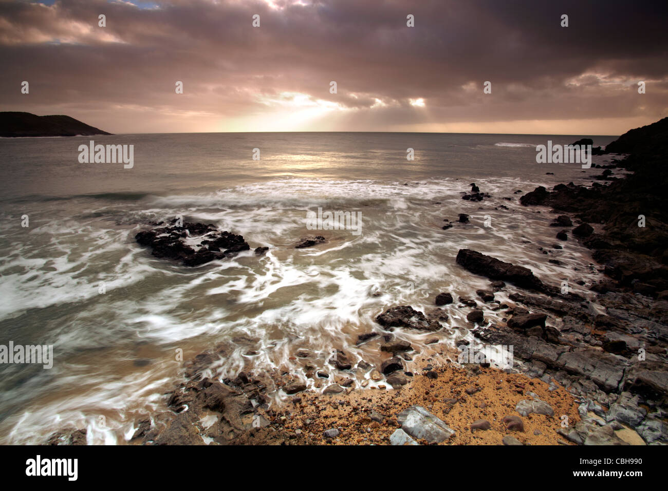 Langland Bay, Gower, Wales, early morning - Stock Image