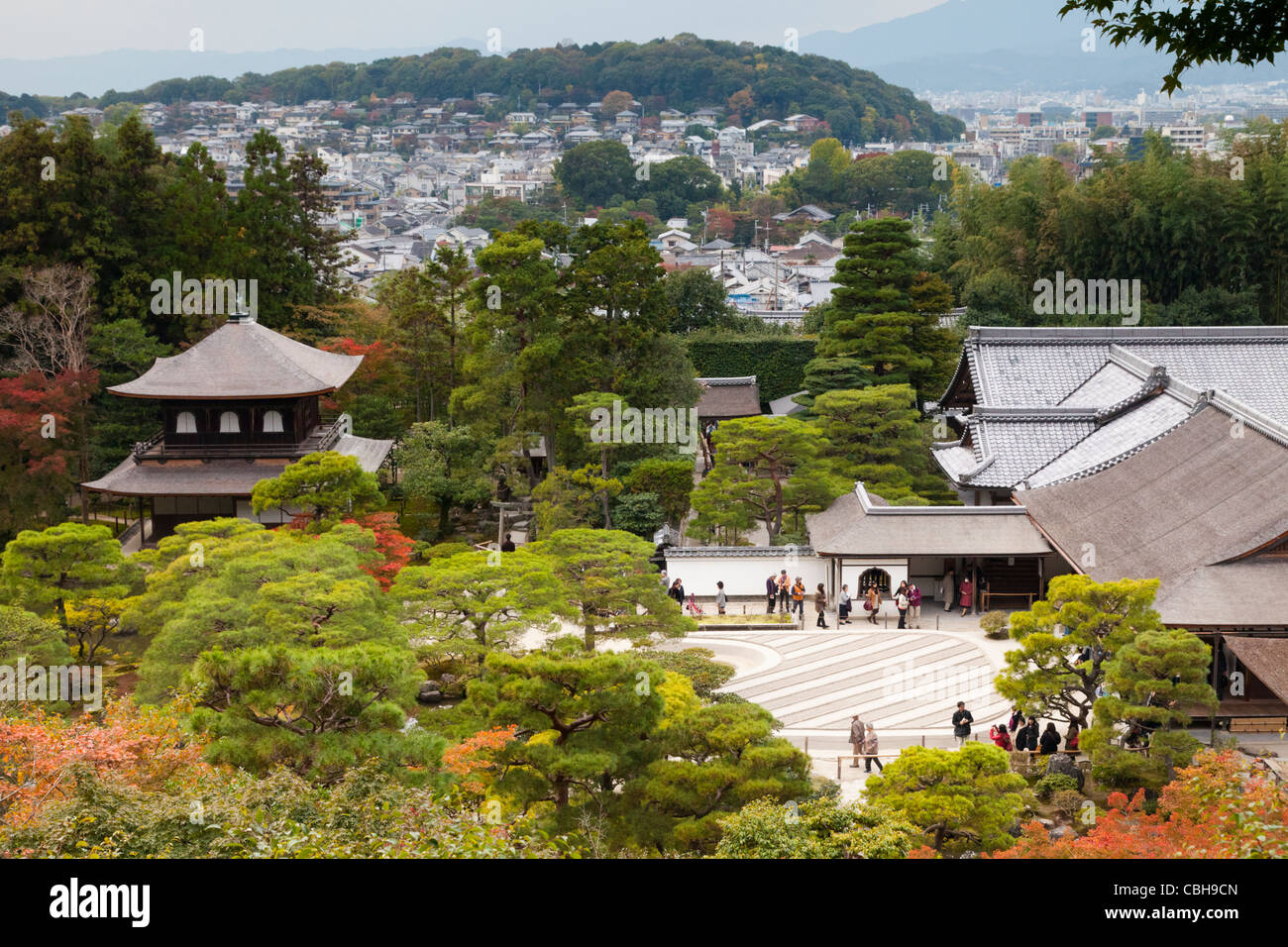 Ginkaku-ji Temple and its gardens, Kyoto, Japan, photographed in November, a popular month for viewing autumn colour - Stock Image