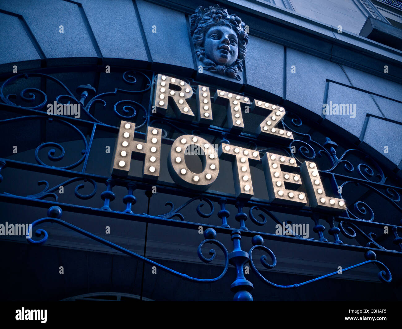 Entrance sign to The Ritz Hotel a luxury 5-star hotel in Piccadilly London - Stock Image