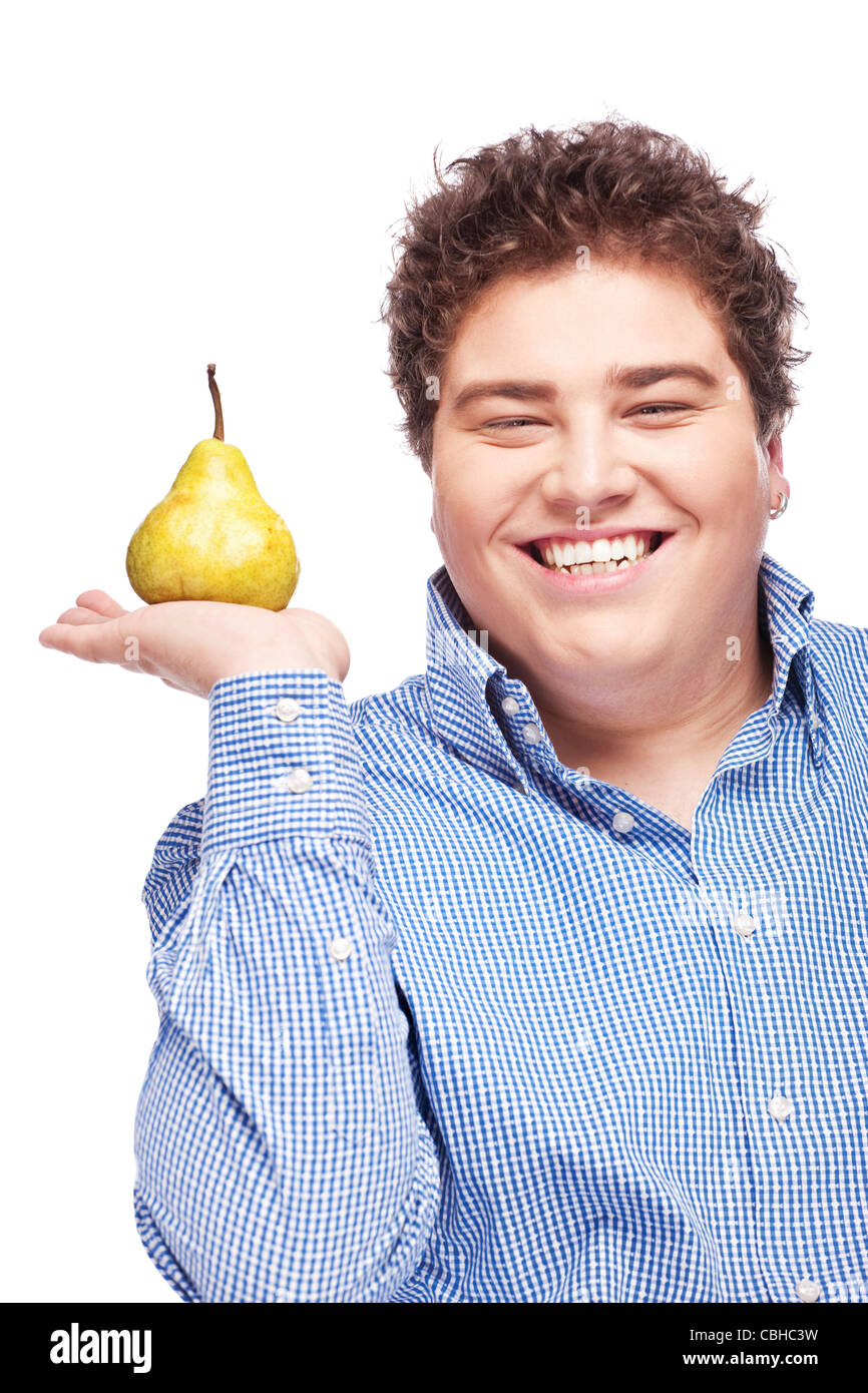 Happy chubby man holding pear, isolated on white - Stock Image