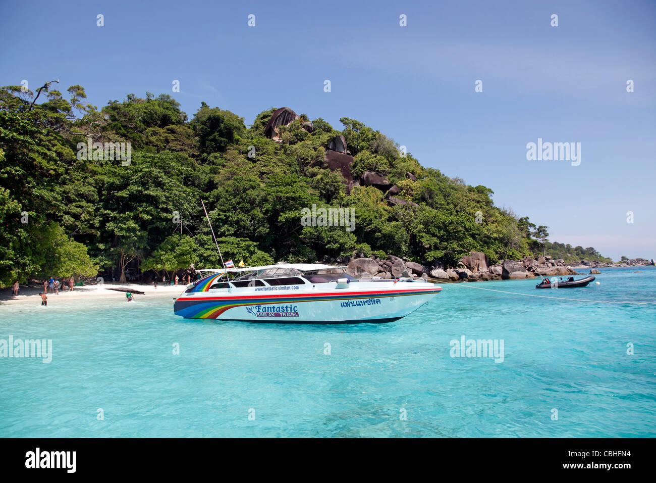 Speedboat at Miang Island, Similan Islands, Phang-Nga, near Phuket, Thailand - Stock Image