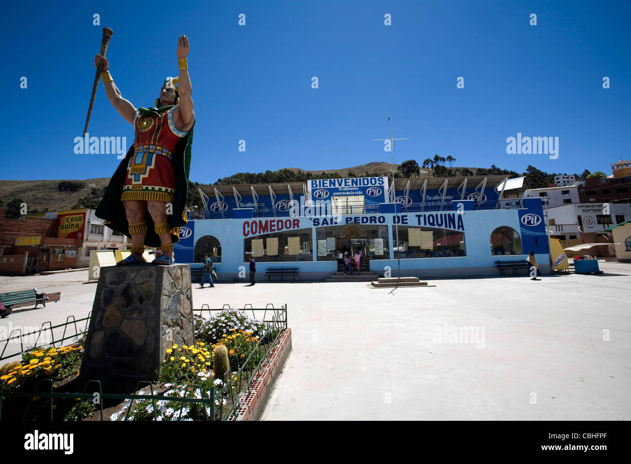 The small village of San Pedro de Tiquina on the Titikaka lake Bolivia - Stock Image