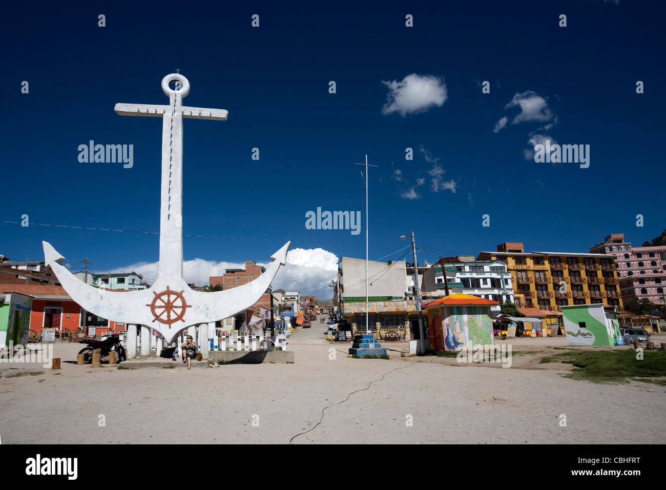 The big anchor symbol of Copacabana on the lake Titikaka, Bolivia - Stock Image