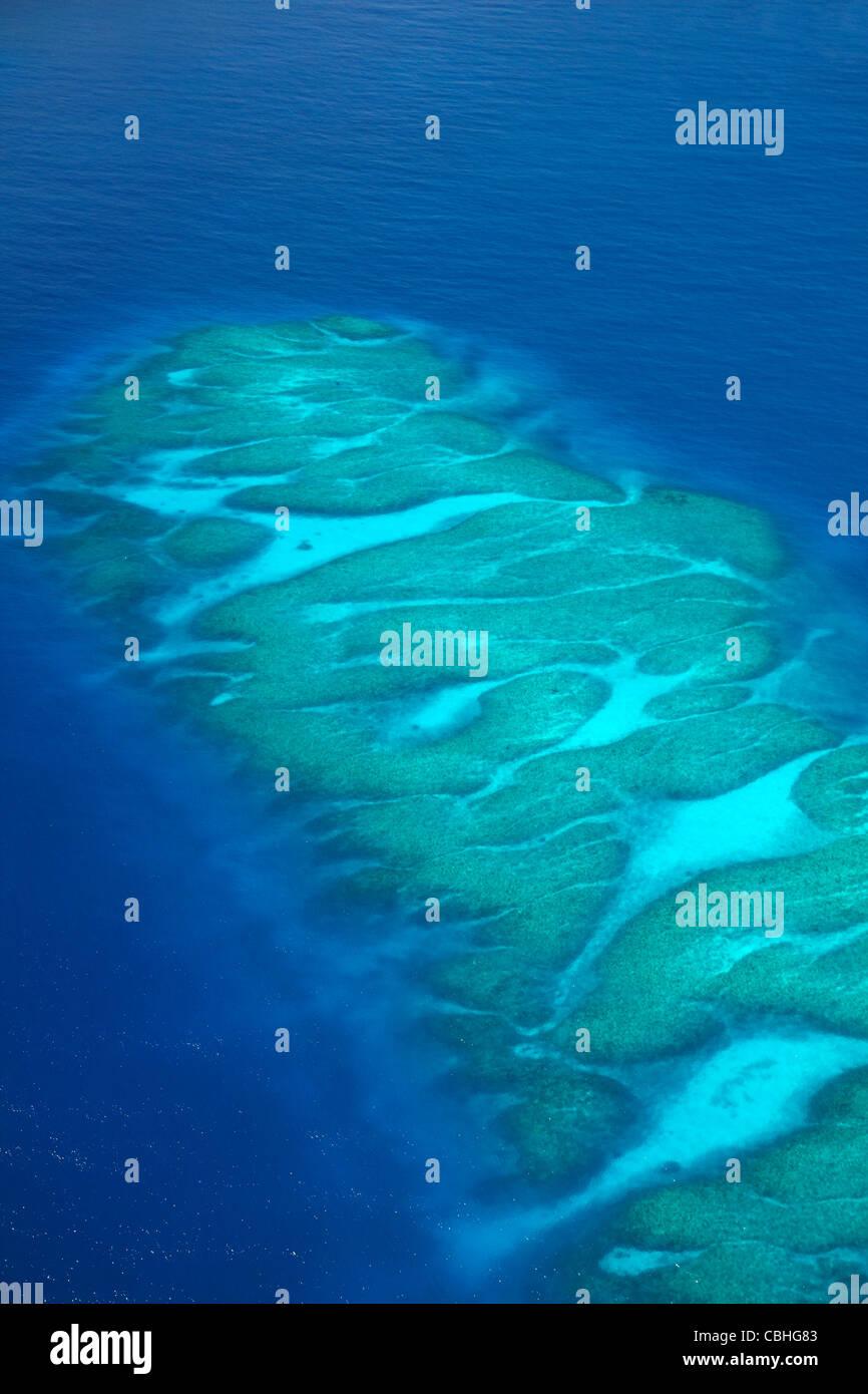 Coral reef near Monuriki Island, Mamanuca Islands, Fiji, South Pacific - aerial - Stock Image