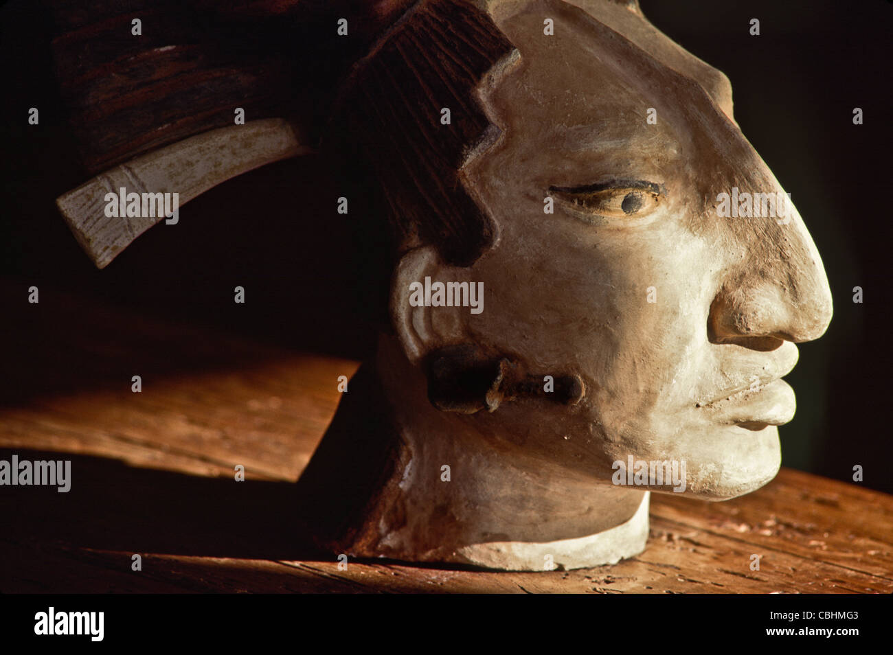 Folk art clay head of Pakal the Great, the Mayan leader of Palenque - Stock Image