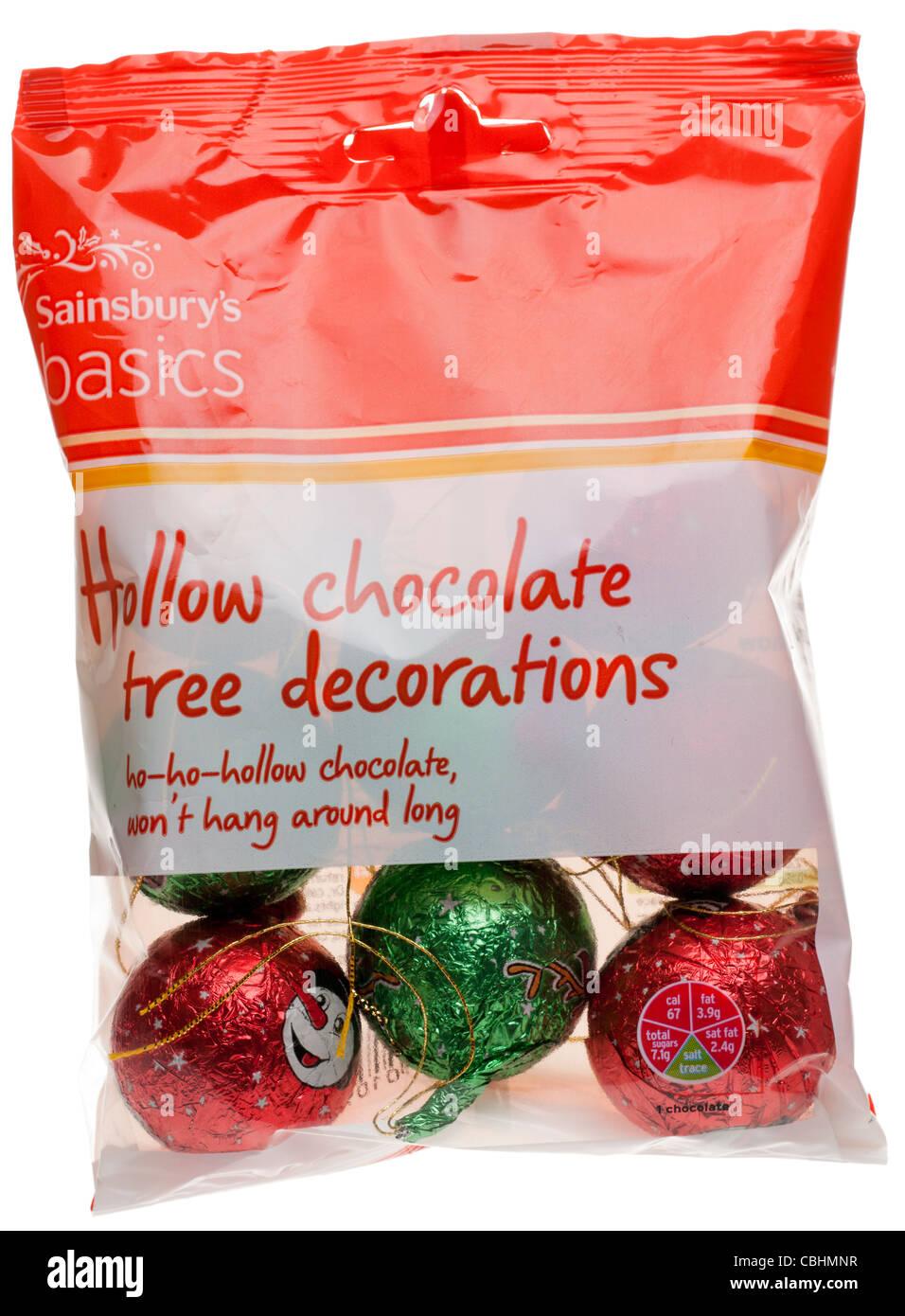 Bag Of Sainsburys Hollow Chocolate Xmas Tree Decorations