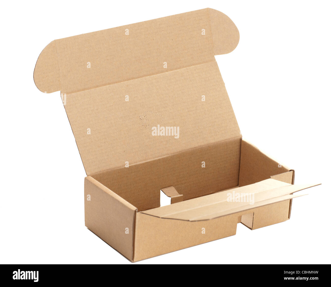 Small cardboard component packing box - Stock Image
