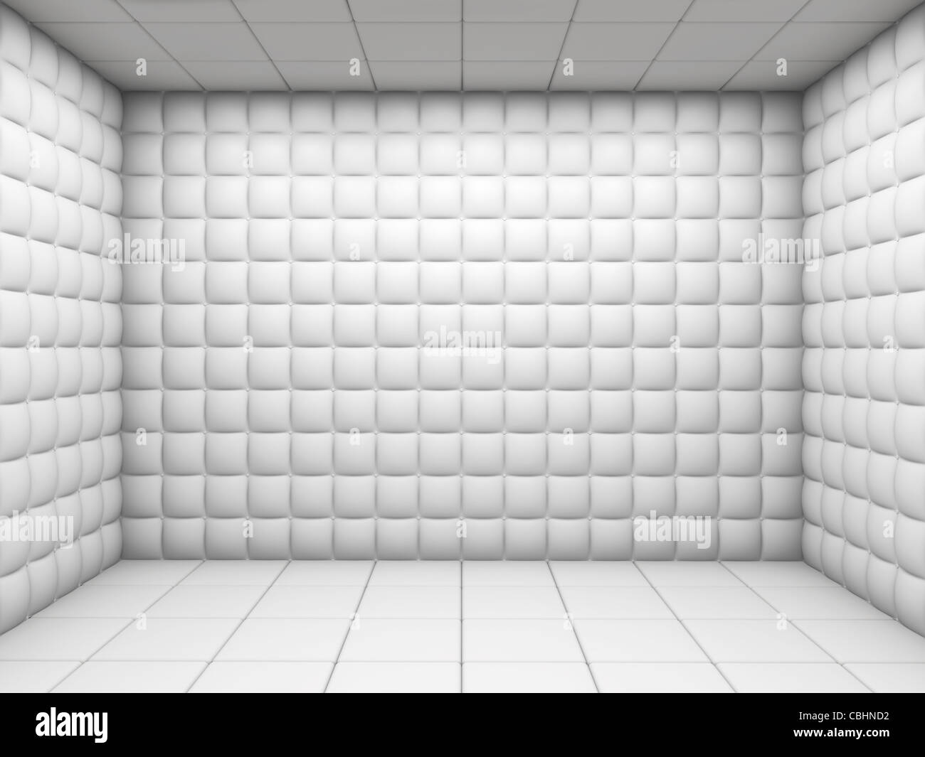 white mental hospital padded room empty with copy space - Stock Image