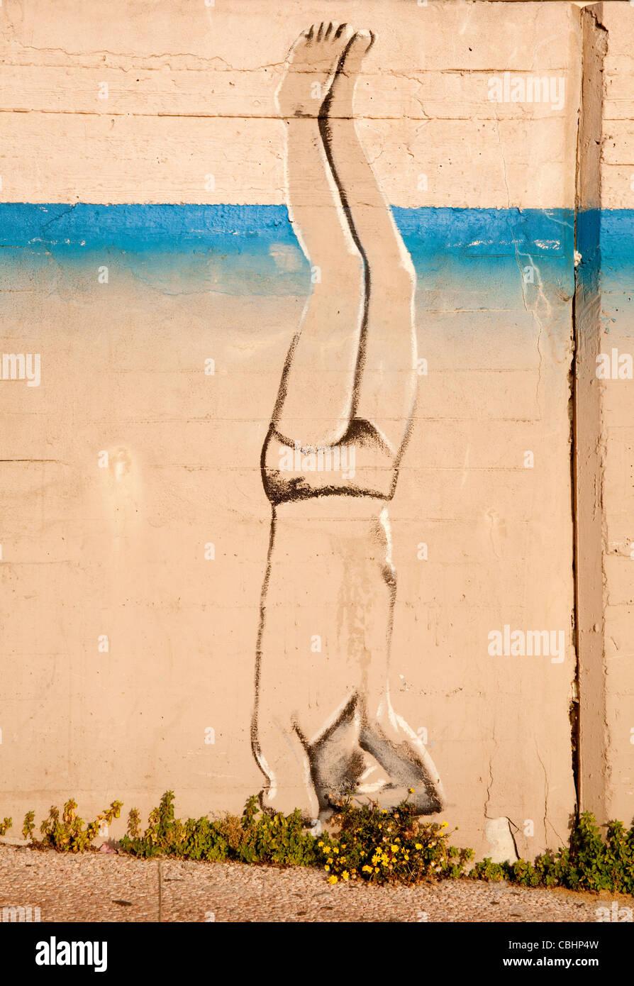 wall graffiti or paintings by artist Rami Meiri near a Tel Aviv ...