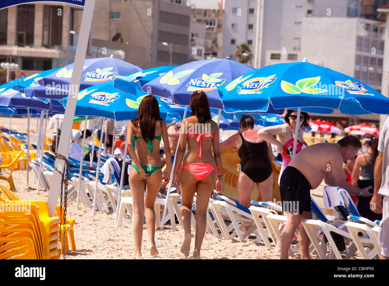 holiday or weekend crowds at a Tel Aviv beach in Israel - Stock Image