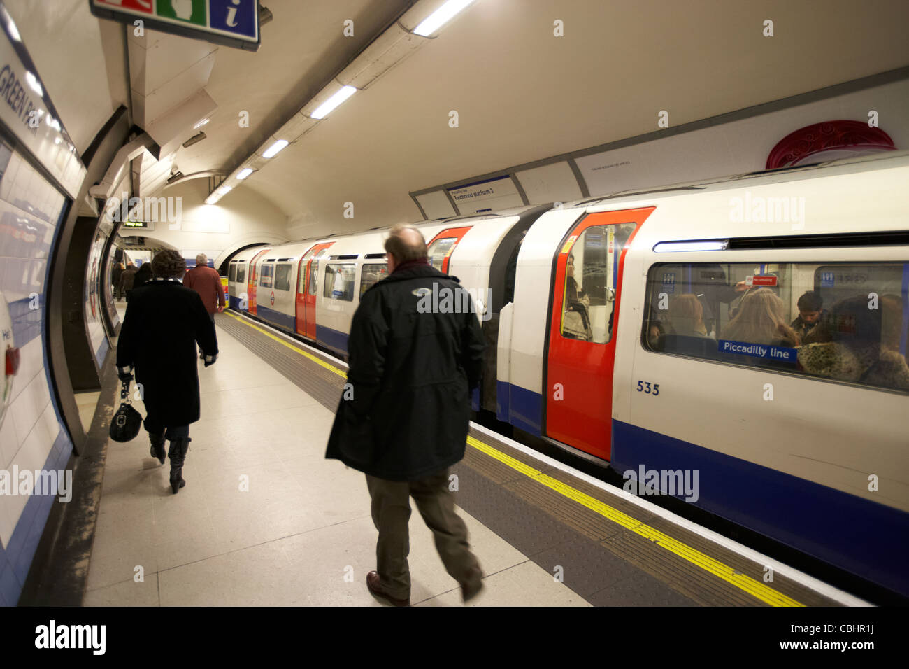 green park london underground station with piccadilly line train at platform england united kingdom uk - Stock Image