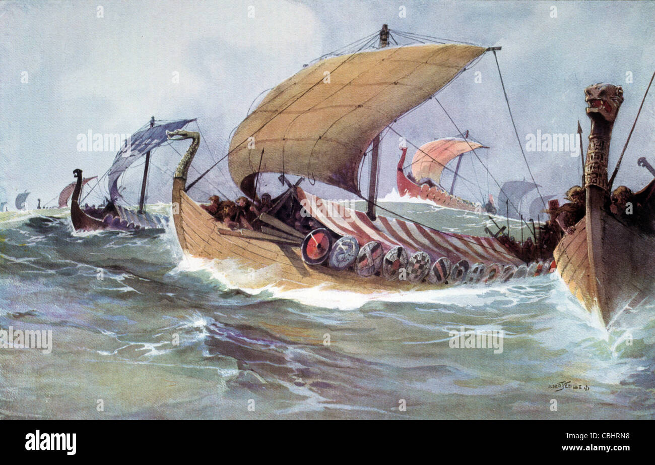 Viking Ship, Ships, Fleet or Armada Crossing the Sea. Painting by Albert Sebille c1930 - Stock Image