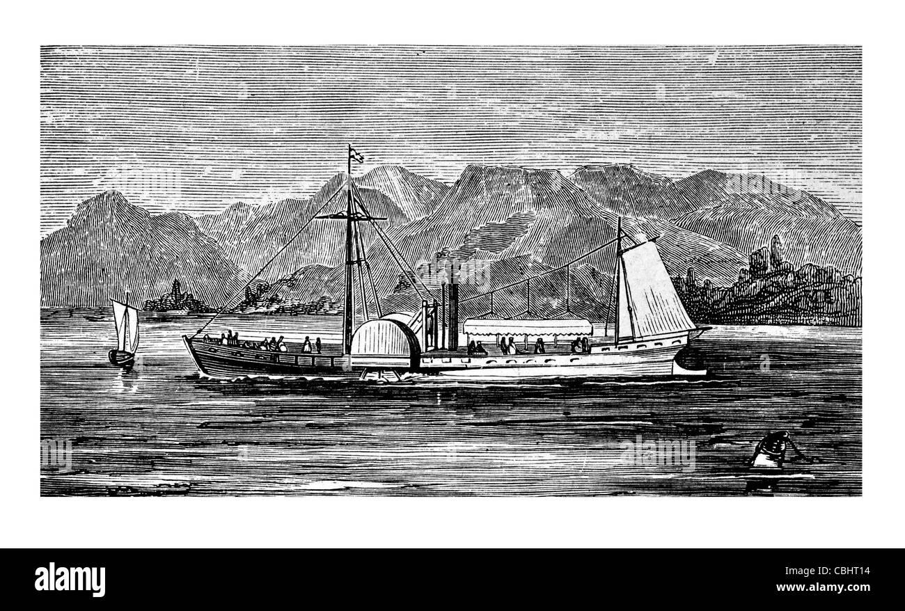 Clermont Robert Fulton paddler propeller steamer passenger service steamboat sail sailing sailor ship ships shipping - Stock Image