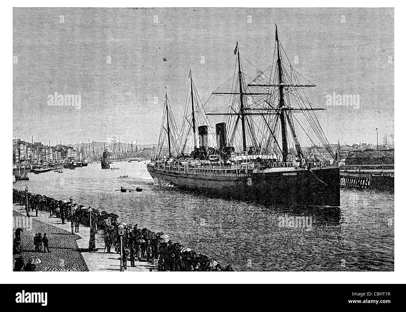 The Transatlantic Mail steamer Gascony  port Le Havre dock harbout quay liner Stock Photo