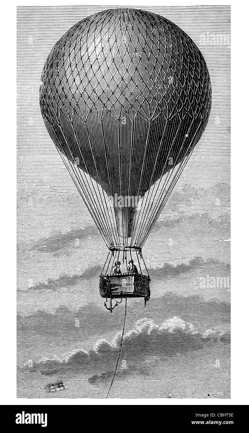 Aerostat fully inflated balloon aircraft travel wind power transport vehicle airship hot air wicker basket capsule Stock Photo